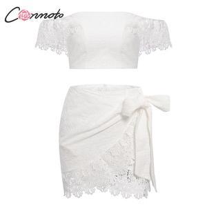 Image 5 - Conmoto kobiety lato biała haftowana spódnica zestaw moda Sexy Off ramię koronkowe krótkie bluzki Mini spódnica garnitur kobiece zestawy wakacyjne