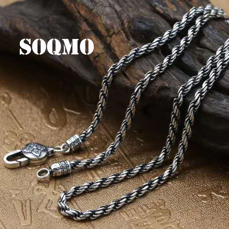 SOQMO 100% Real 925 Sterling Silver Vintage Chains Necklaces for Men Male Jewelry Accessories Bijoux 18-32 inches SQM147