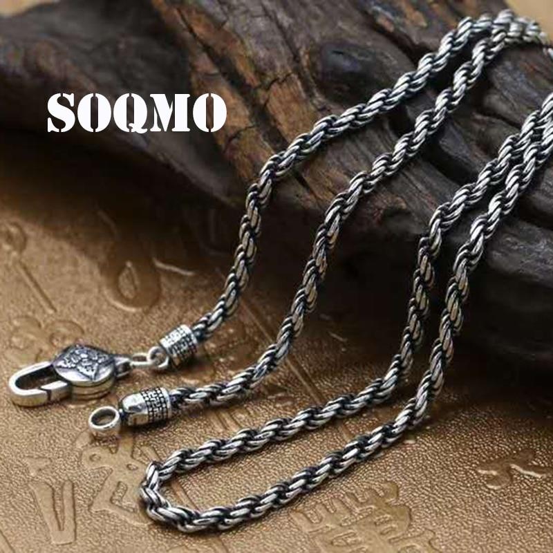 SOQMO 100% réel 925 argent Sterling Vintage chaînes colliers pour hommes hommes Bijoux accessoires Bijoux 18-32 pouces SQM147