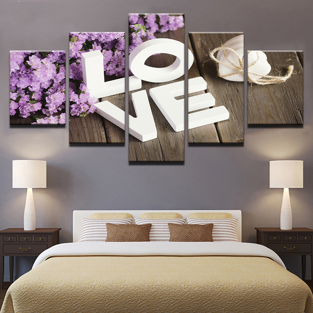 Modular Pictures Living Room Wall Art 5 Piece Purple Hyacinth Flower Paintings Home Decor Canvas HD