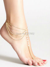 FREE SHIPPING New Style L51 Women Fashion Chain Anklet Chunky Chain Imitation Pearls Ankle Chain Jewelry 2 colors