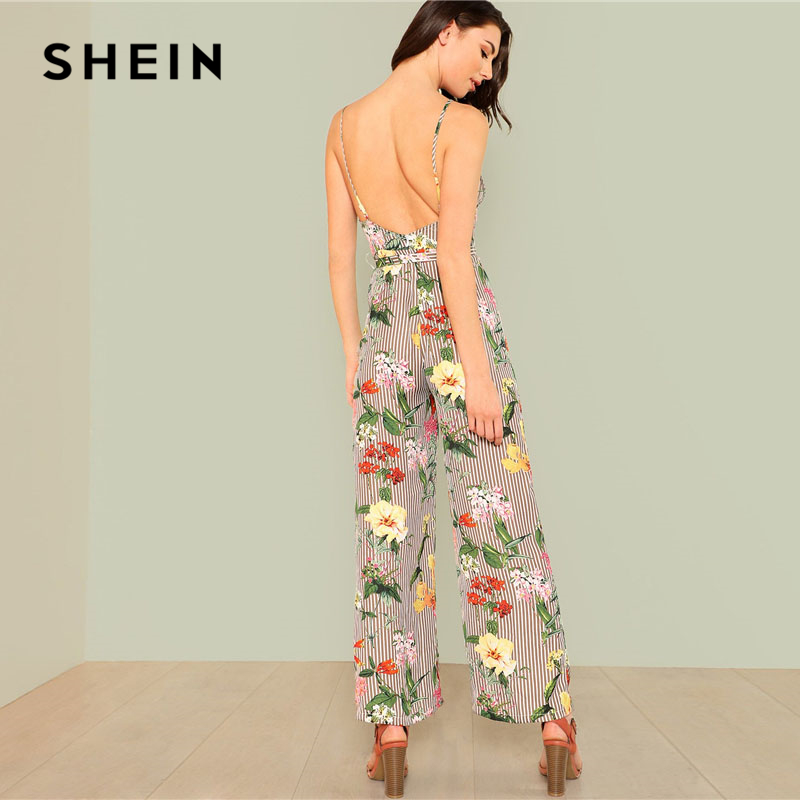 79653cb8f09 SHEIN Backless Wide Leg Striped   Floral Jumpsuit Spaghetti Strap  Sleeveless Belted High Waist Clothing Women Wide Leg Jumpsuit-in Jumpsuits  from Women s ...