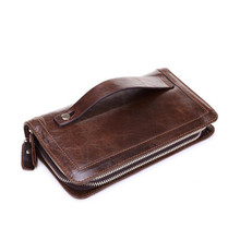 Genuine Leather Men Wallets Double Zipper Male Wallet Men Purse Fashion Male Long Phone Leather Wallet Man's Clutch Bags misfits men wallet genuine leather purse double zipper male wallet men s handbags business long phone wallet man s clutch bags