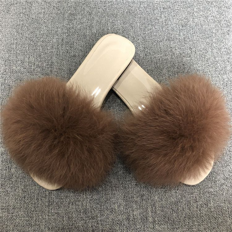 natural fox fur home slippers women Slippers Fluffy real Fur Slides Flat Home Flip Flops Fuzzy Multiple Color Sexy Party Shoes