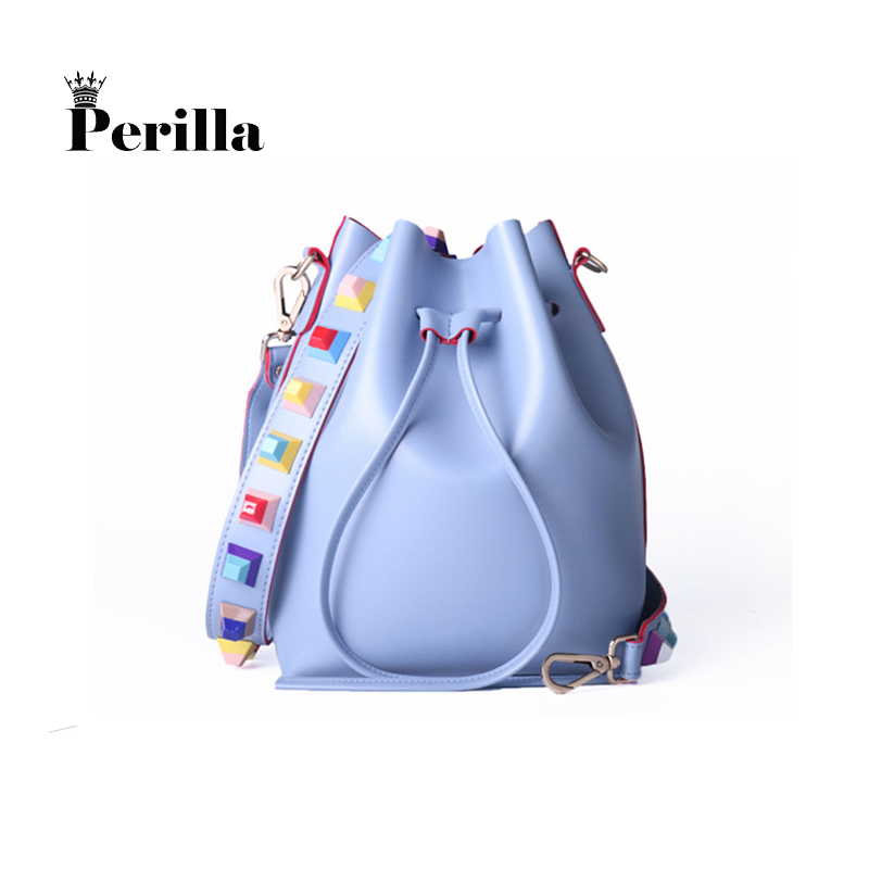Perilla Brand Women Fashion Colorful Strap Bucket Bag High Quality Brand Designer Ladies Crossbody Bag Pu Leather Shoulder Bag