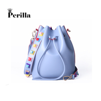 Perilla Brand Women Fashion Colorful Strap Bucket Bag High Quality Brand Designer Ladies Crossbody Bag