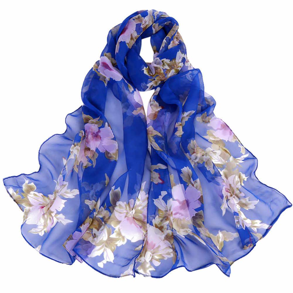 Новая бандана, шарфы с цветочным принтом, женские, на осень и зиму, Boho, Пляжная шаль, для девушек, элегантная, Дамская, повседневная, длинная, мягкая, обёрточная бумага, шарф # YL
