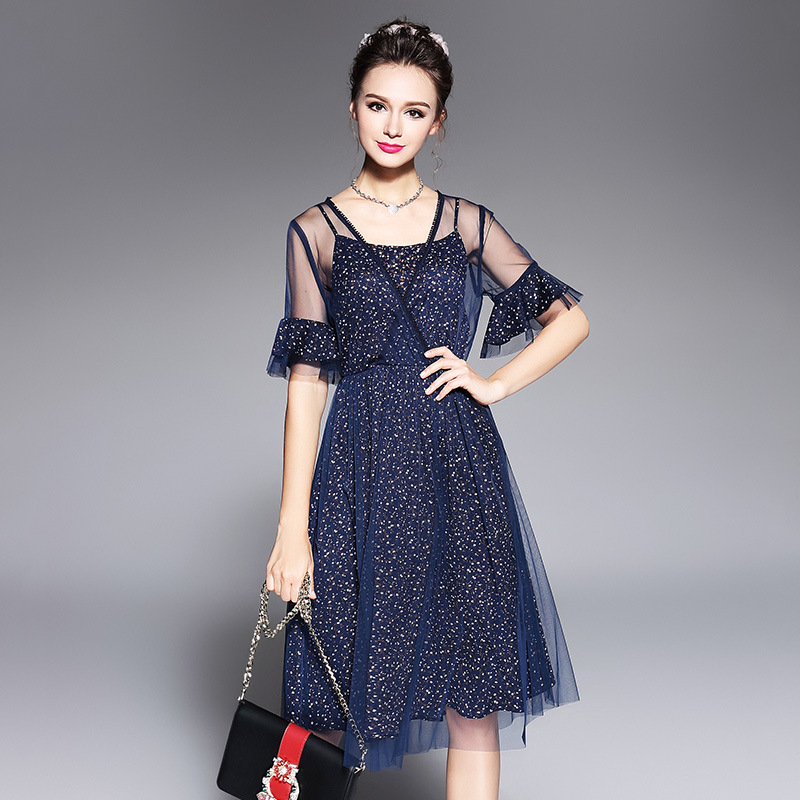 New2017Summer Fashion ladies mesh patchwork floral Dresses female plus size flare sleeve hollow out casual vestidos