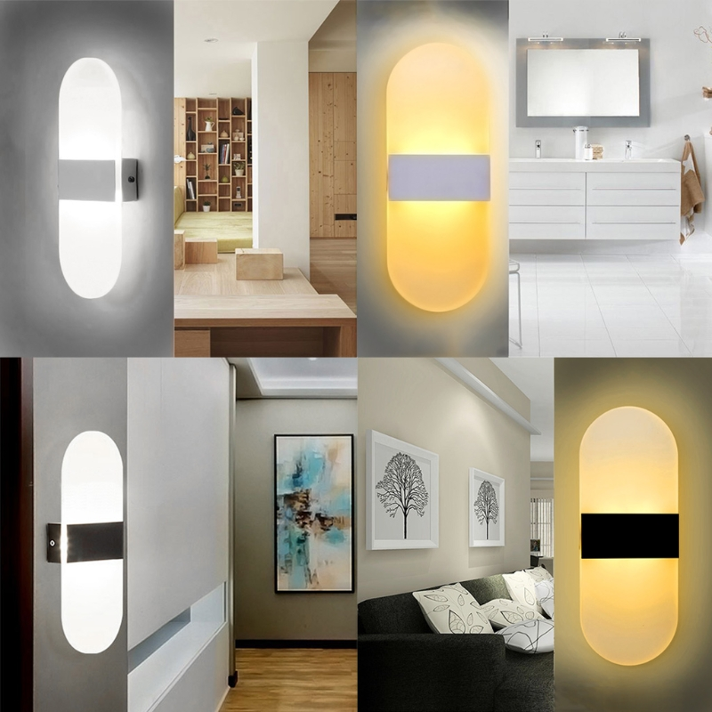 Modern LED Acrylic Wall Lamp AC85-265V 6W Bedroom Light Foyer Study Decoration Sconce