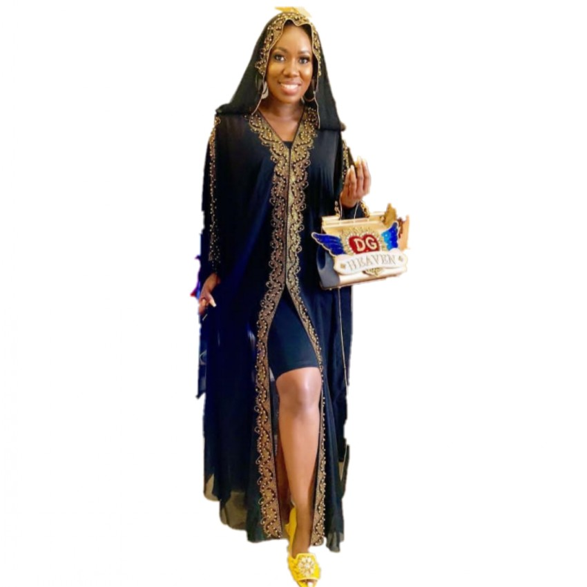 Length 150cm African Dresses For Women Africa Clothing AFrican Design Bazin Chiffon Long Stick Diamond SLeeve Dashiki Dress Lady