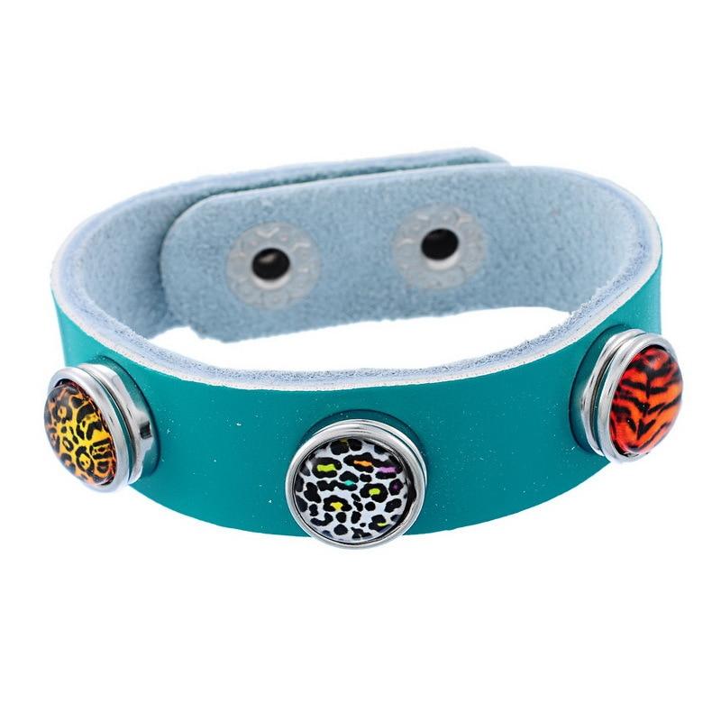 5Pcs Blue-green Snap Bracelet Band Bangle Real Leather 20cm Fit Snap Mini Button For Children Kids