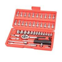 Juego de herramientas con llave de 1/4 pulgadas  juego de llaves de trinquete de 46 Uds.  juego de llaves de trinquete  herramientas de reparación de coches para manillar y Extensión