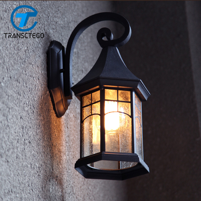 Vintage wall lamp outdoor courtyard retro lamps waterproof for Lamparas para exteriores