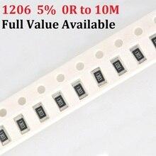 200pcs 1206 10K ohm 5% 0R~10M 0.8W 10R 100R 220R 330R 470 ohm 1K 2.2K 10K 100K 0R 1R 5/6/7/8/9 R/K SMD Chip Resistor kit