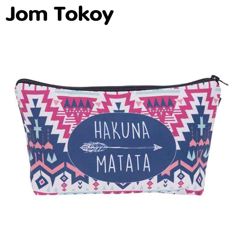Jom Tokoy 2018 cosmetic organizer bag Hakuna matata 3D Printing Cosmetic Bag Fashion Women Brand makeup bag