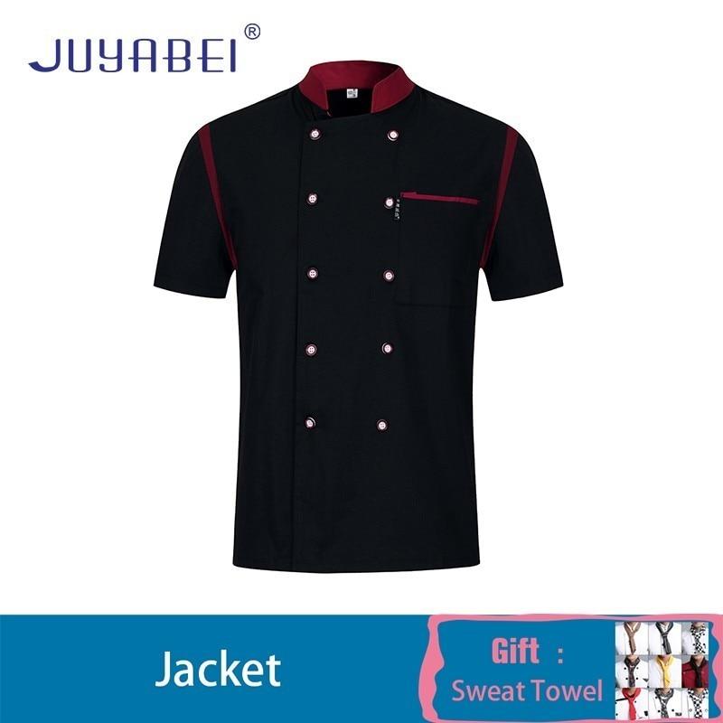 Unisex Stitching Kitchen Cooking Uniform Short Sleeve Summer Restaurant Hotel Chef Jacket Hair Salon Workwear Free Scarf Gift