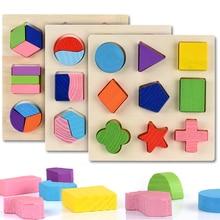 Forme geometriche in legno Puzzle Montessori smistamento mattoni matematici apprendimento prescolare gioco educativo giocattoli per bambini per bambini