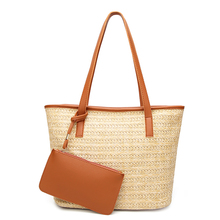 Casual Women Summer Beach Handbag Rattan Woven Handmade Knitted Straw Large Capacity Totes Leather Female Shoulder Bag for lady