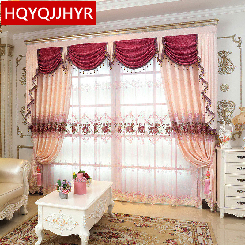 Pink Luxury European Custom Embroidery Blackout Curtains For Living  Room/Hotel Brown High End Villa Curtains For Bedroom/kitchen