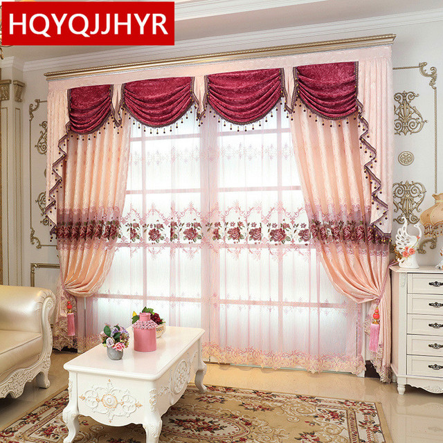 brown blackout curtains. Pink Luxury European Custom Embroidery Blackout Curtains For Living Room/Hotel Brown High-end