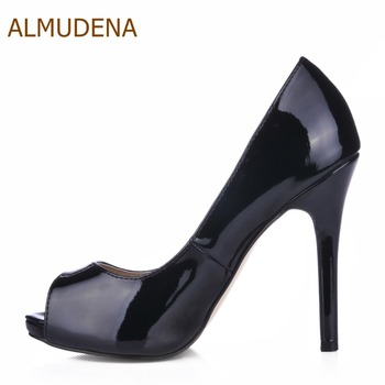 ALMUDENA Hot Selling Classic Stylish Black Patent Leather Peep Toe Pumps Stiletto Heels Slip-on Dress Shoes Gladiator Pumps фото