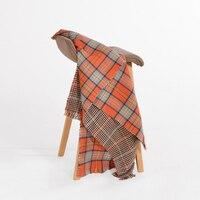 Luxury Brand Cashmere Winter Scarf Women Plaid Blanket Orange Kaschmir Schals Thick Warm Scarves Large Echarpe