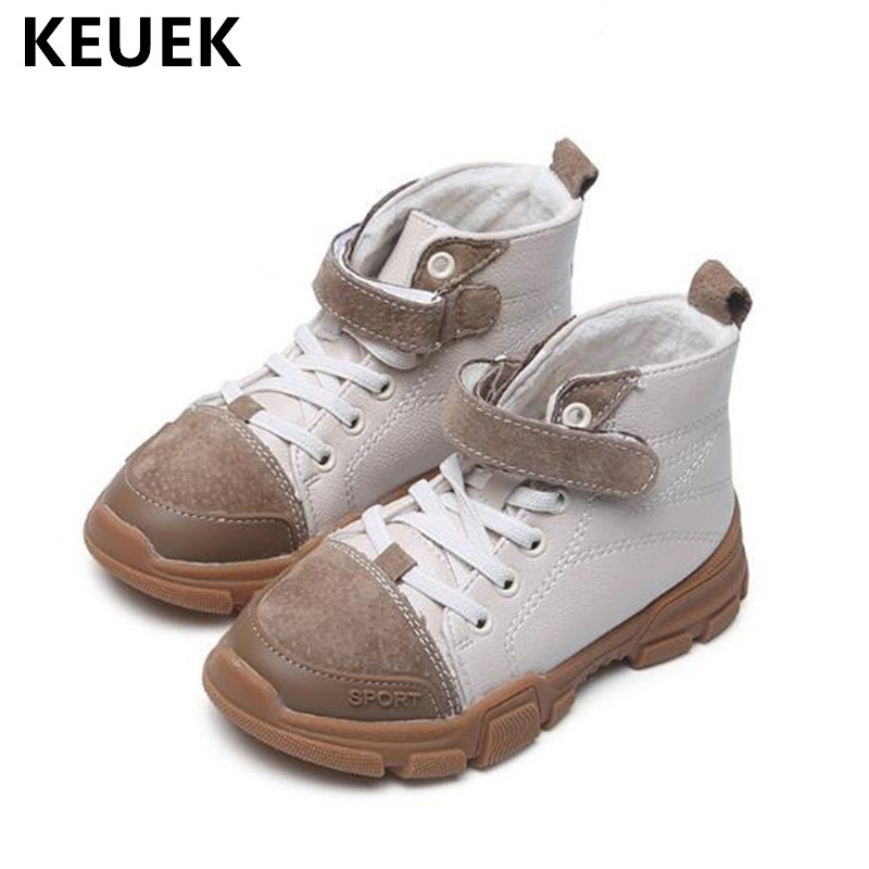 New Children Shoes Winter Ankle Boots Kids Snow Boots Boys Girls Genuine Leather Short Plush Warm Toddler Baby Boots 03 kids baby toddler shoes children winter warm star snow boots shoes plush thicker sole boys girls snow boots shoes free shipping