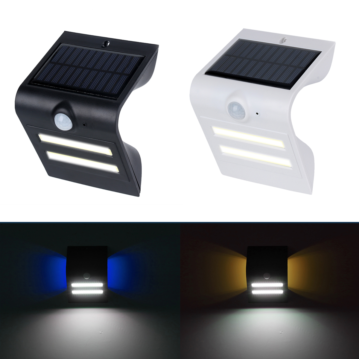 Smart led Solar inductive Wall Light COB LED Waterproof PIR Detector Sensor Wall Lamp Spotlights ...