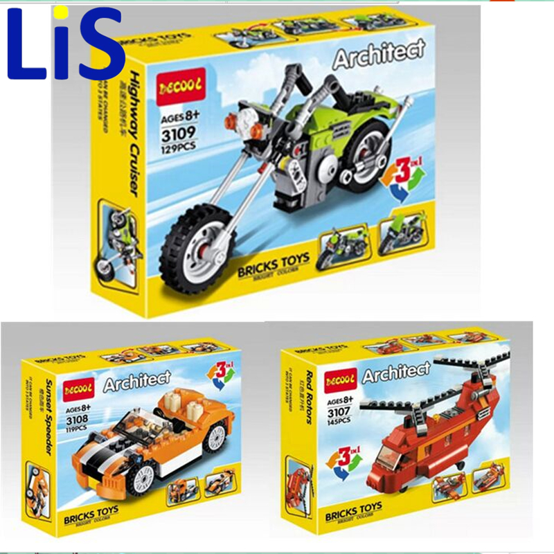 Lis Decool 3109 Architect Series 3 IN 1 Harle/Motor cycle Buidling Blocks Modern Kids Toy Compatible with Lepin