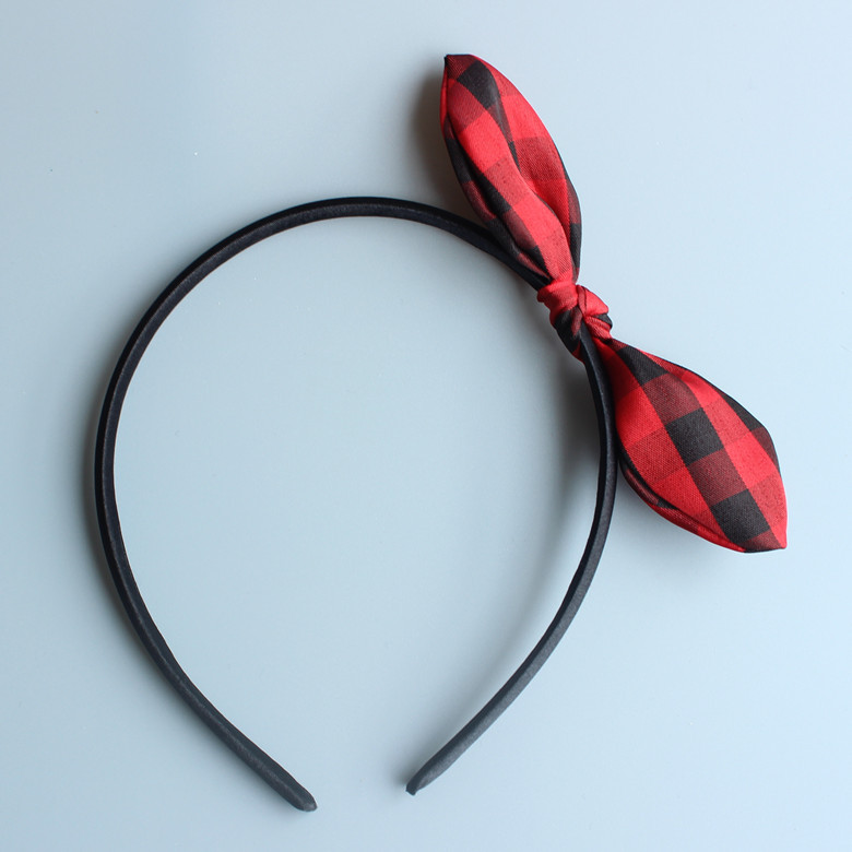 Red Black Plaid Rabbit Ear Bow Headband Hairpin Bow Hair Cute Baby  Headwears Children Bowknot Hair Accessories Kids Gifts