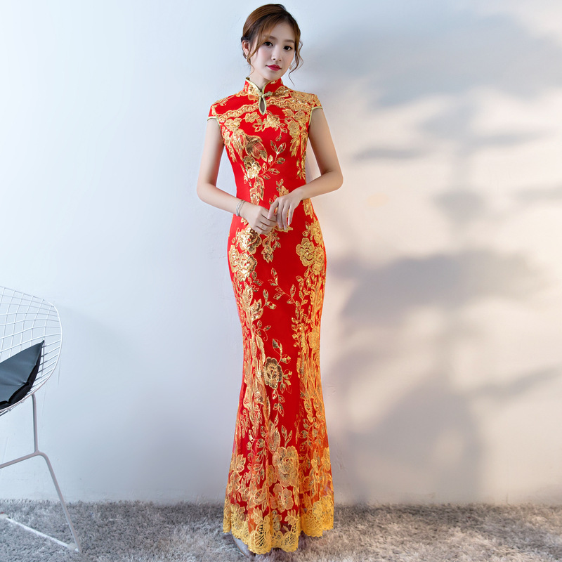 U-SWEAR 2019 New Arrival Elegant Red Lace Bridesmaid Dress Flower Embroidery Sheath Lace Vintage Bridesmaid Dress Cheongsam