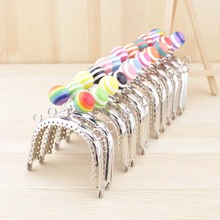 12pieces/lot ,7.5cm multi colors Candy Vaulted shape Metal Purse Frame Handle for Bag Sewing Craft,Coin Purse Frames