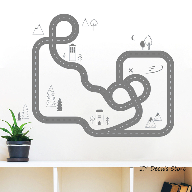 Road Map Wall Art Sticker Home Decor Boy Bedroom Removable Nordic Style Boys Room Decals