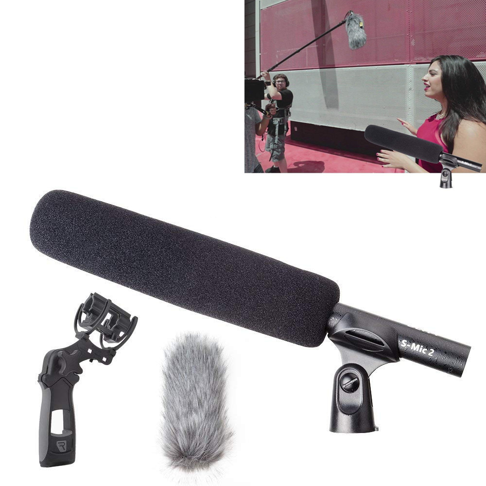 Divinité S-Mic 2 Professionnel Kit Emplacement Micro avec Super Faible Bruit Directionnel Microphone Pare-Brise pour Salut-Res diffusion