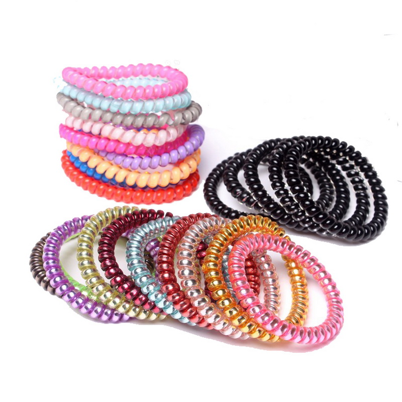 10 Pcs Scrunchy Phone Cord Telephone Wire Elastic Silicone