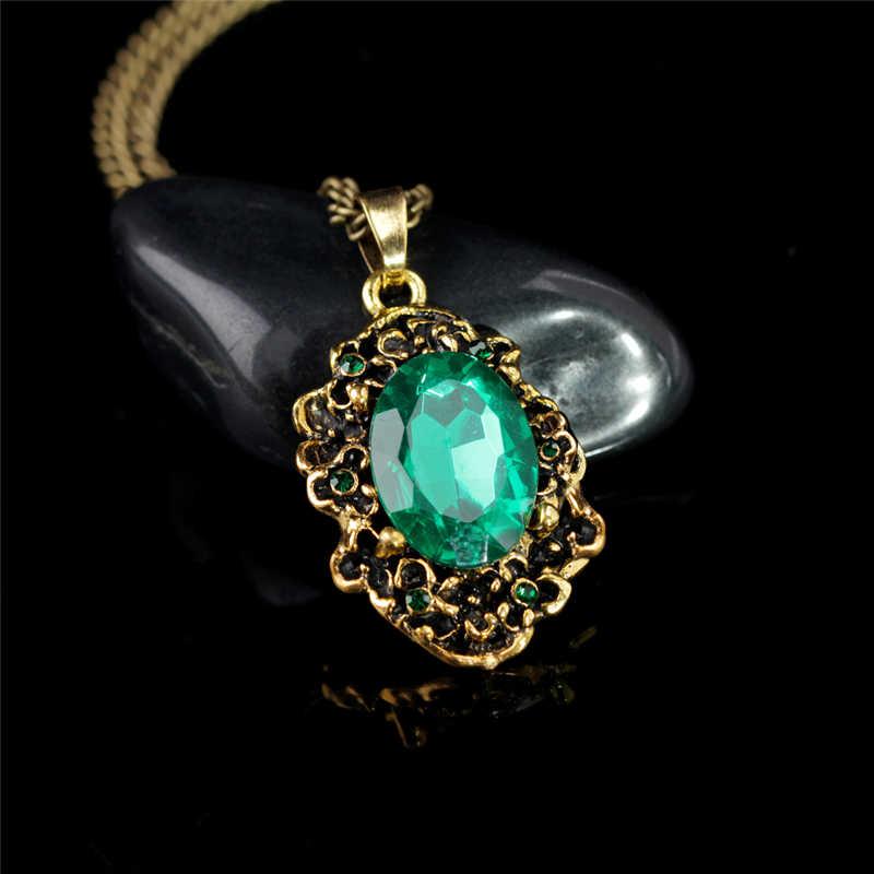 حار الملكة خمر البرونزية نمط الأخضر كريستال قلادة قلادة الأميرة الملكي حفلة إكسسوارات عقد مجوهرات الأزياء