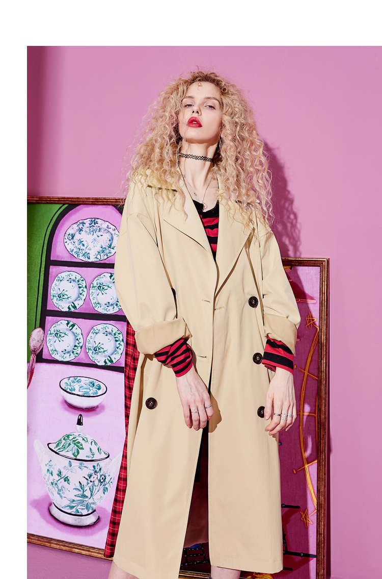 ELFSACK Plaid Back Casual Turn-down Collar Double Breasted British Trench Coat Women 19 Autumn Oversize Female Outwear 5