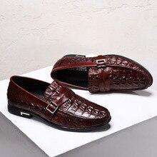 QYFCIOUFU Men Dress Shoes Genuine Leather Shoes Crocodile Pattern Flats Oxfords Slip-on Wedding Office Business Men Casual Shoes