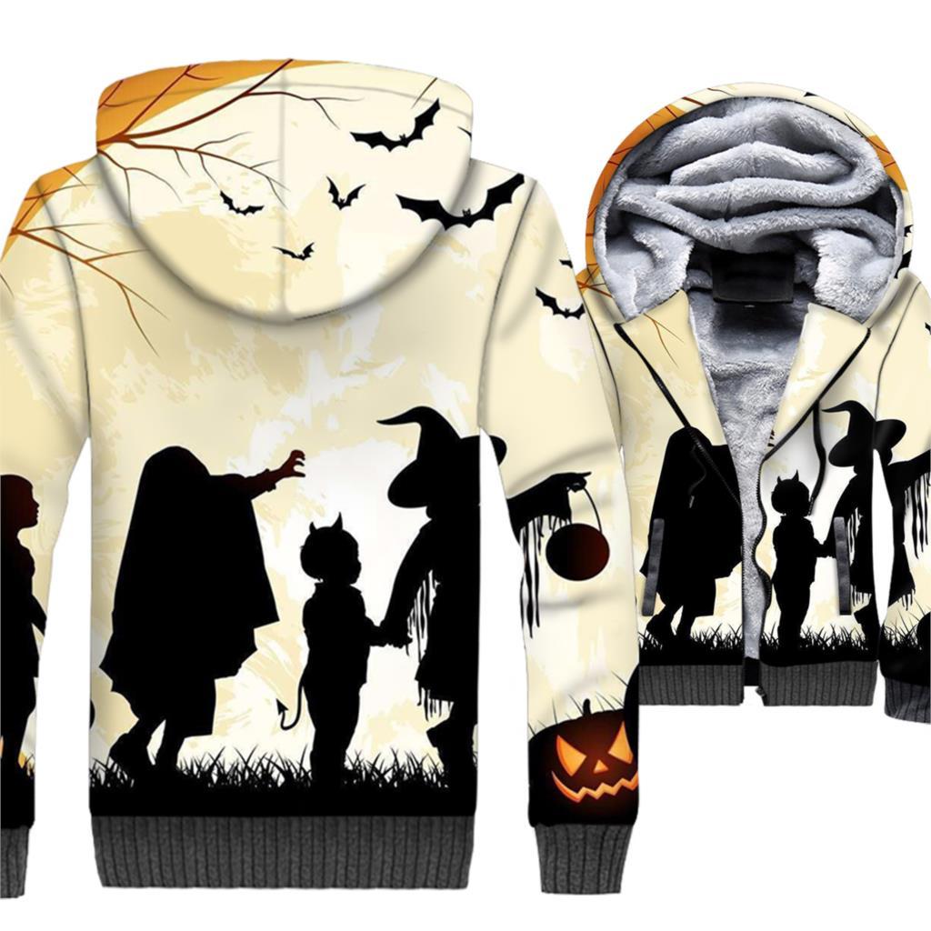 Happy Halloween Hoodie Men Pumpkin Jackets Funny Sweatshirt Winter Thick Fleece Warm 3D Jack-O-Lantern Coat Hip Hop Streetwear