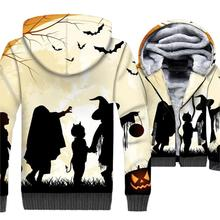 Happy Halloween Hoodie Men Pumpkin Jackets Funny Sweatshirt Winter Thick Fleece Warm 3D Jack-O-Lantern Coat Hip Hop Streetwear