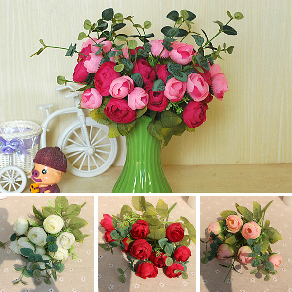 ③10 Heads Flowers Bouquet Artificial Silk Champagne Flower Spring ...