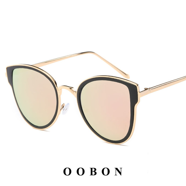 e618199099f OOBON Donna Oversized Cat Eye Sunglasses Women Round Mirror Gold Rose Frame  Flat Mirror Sun Woman Fashion HD Lens Glasses