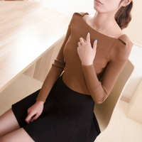 2014 New Women Sweaters Pullovers Slash Neck Winter Elastic Lady Knitted Tops Tunic Poncho Brown White