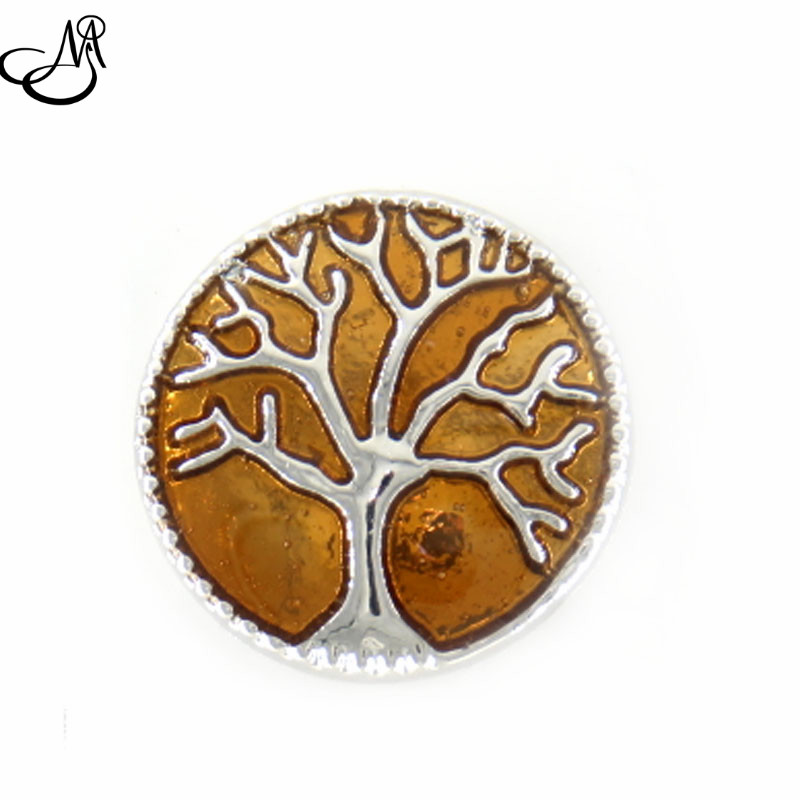 12pcs/lot Metal Snap Button Orange Color Tree of Life Theme snap button charms fit 18mm snap button bracelet SB1395