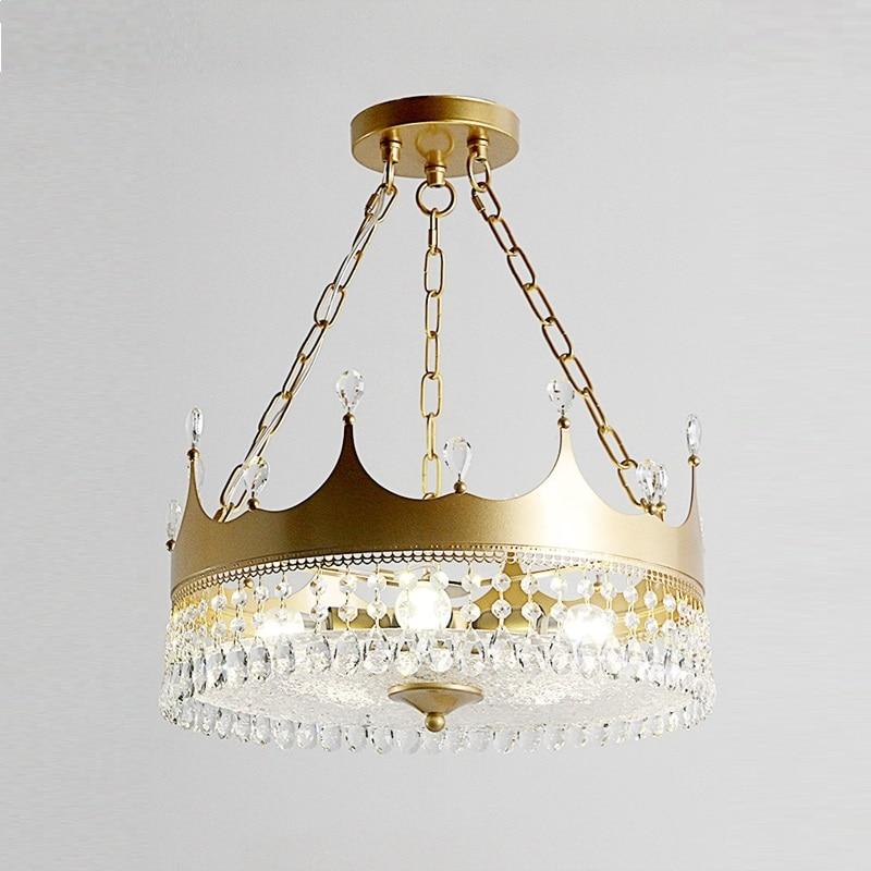 Nordique fille luxe couronne cristal lustre garçon enfants chambre Suspension lampe suspendue lumières or Suspension luminaires