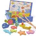 Niños creativos Juguetes Casa del Juego de Simulación de Pesca de Madera Magnética Honestamente Peces Chicos Chicas Brinquedos con Caja de Regalo De Madera