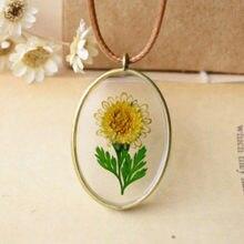 Flyleaf – colliers et pendentifs longs en fleurs de tournesol naturelles pour femmes, bijoux de Style rétro, faits à la main, originaux