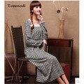 Mulheres camisola de Algodão + Seda Longo Colar Quadrado Solto da Longo-luva Pijamas Salão Nightgowns Sleepshirts Mulheres Vestido