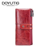 DOYUTIG Brand Business Style Women's Red Genuine Cow Leather Long Wallets Real Leather Card Holder Lady Fashion Money Purse A163