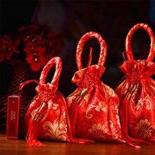 Шелковая дизайнерская коробка для конфет с кисточками, Свадебная коробка для конфет, креативная шелковая сумка, Свадебная подарочная коробка, Свадебные вечерние принадлежности, коробка для конфет